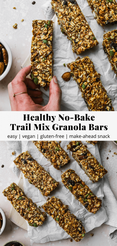 pinterest graphic of healthy no-bake trail mix granola bar recipes
