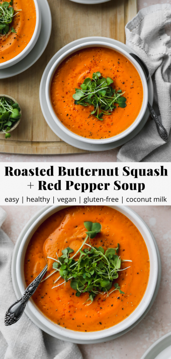 pinterest graphic for a vegan butternut squash and red pepper soup recipe