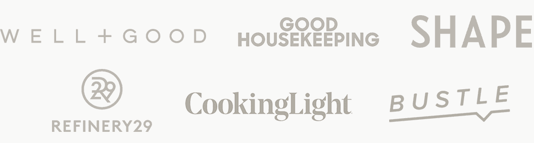 Logos: Well + Good, Good Housekeeping, Shape, Refinery29, CookingLight, Bustle