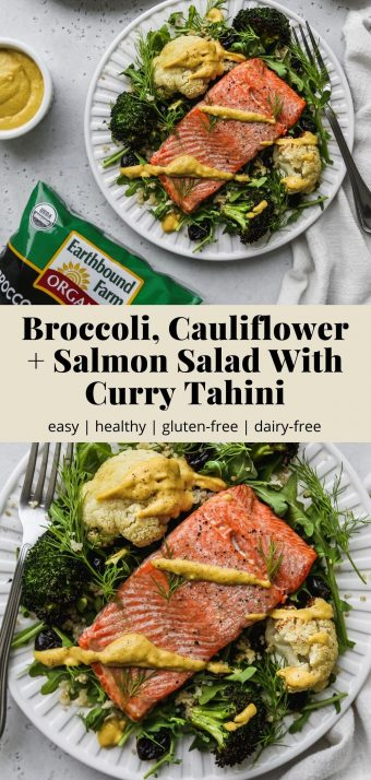 Pinterest graphic of a broccoli, cauliflower, and salmon salad with curry tahini dressing.