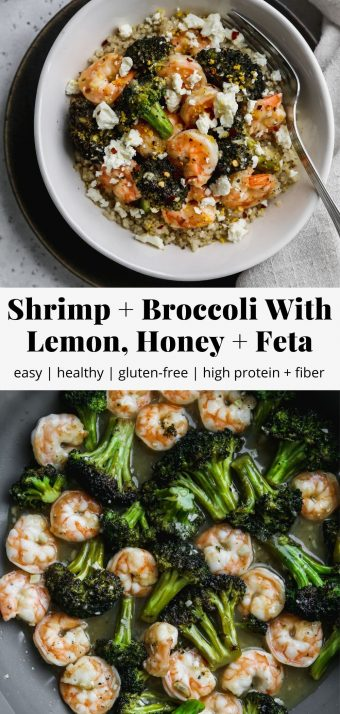 Pinterest graphic for shrimp and broccoli with lemon, honey, and feta recipe.