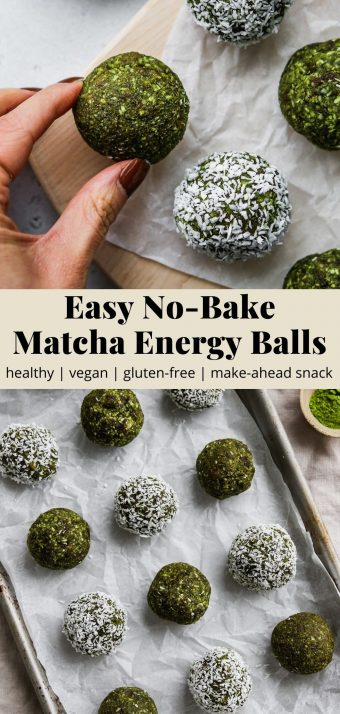Pinterest graphic for an easy no-bake matcha energy ball recipe.