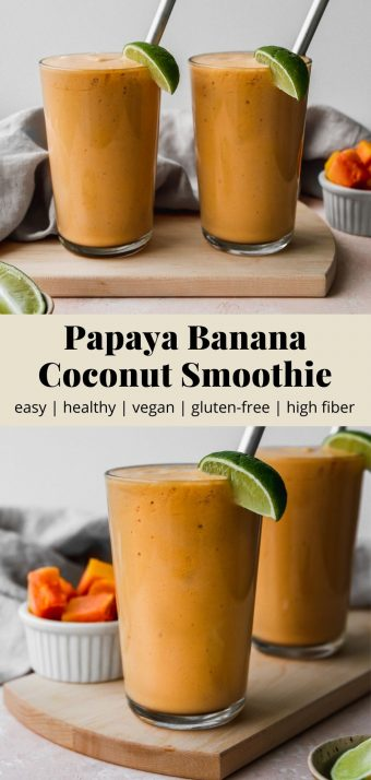 Pinterest graphic for a papaya banana and coconut smoothie recipe.