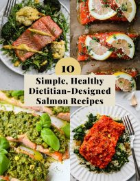 Pinterest graphic for a roundup of simple, healthy salmon recipe ideas.