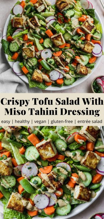Pinterest graphic for a crispy tofu salad with miso tahini dressing recipe.