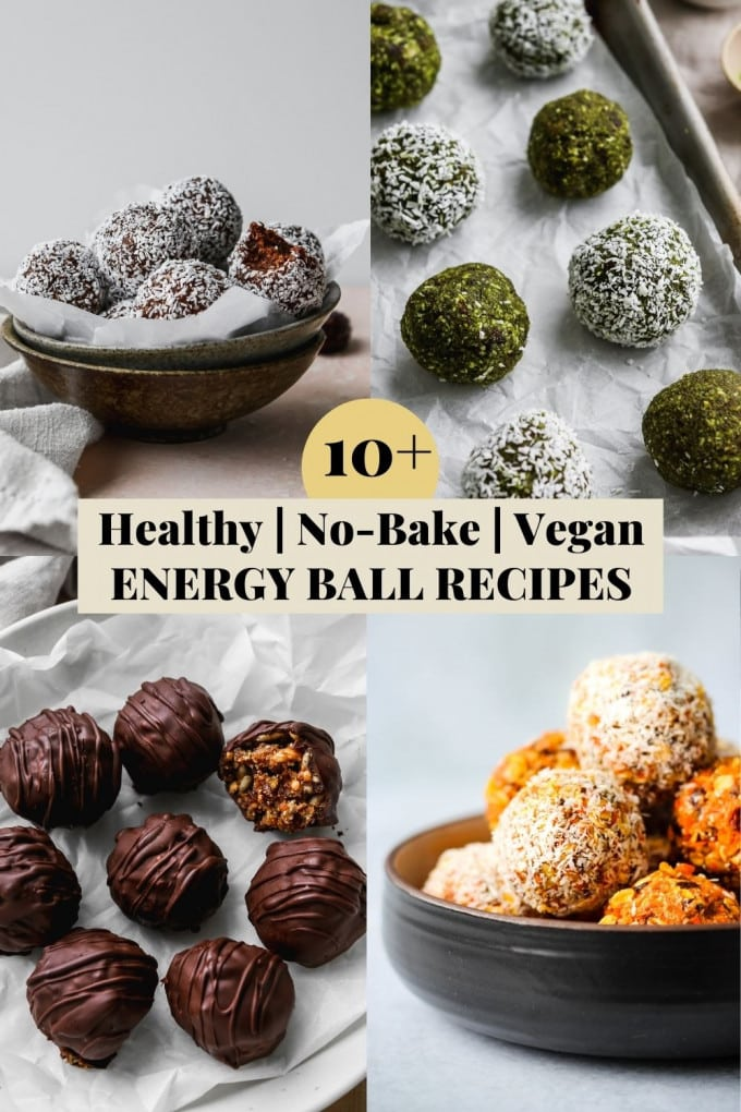 Graphic for a roundup of healthy, no-bake, and vegan energy ball recipes.
