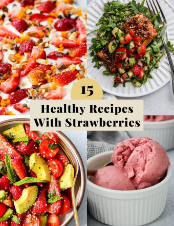 Graphic for a roundup of healthy recipes with strawberries.