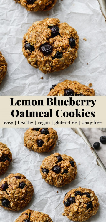 Pinterest graphic for a healthy, vegan lemon blueberry oatmeal cookie recipe.