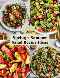 Graphic for a roundup of 20+ spring and summer salad recipe ideas.