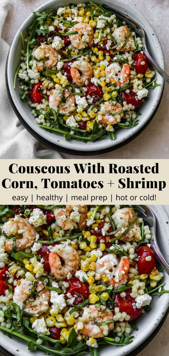 Pinterest graphic for a couscous with roasted corn, tomatoes, and shrimp recipe.