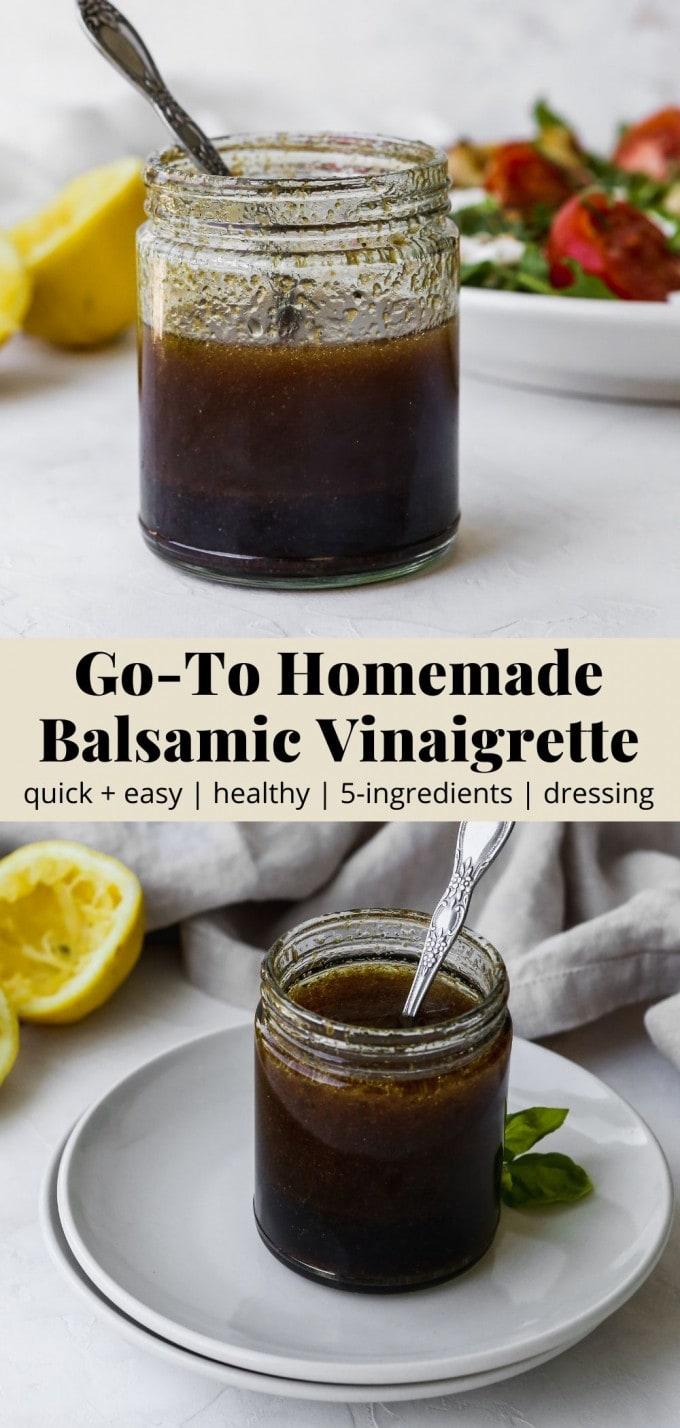 Pinterest graphic for a homemade balsamic vinaigrette dressing recipe.