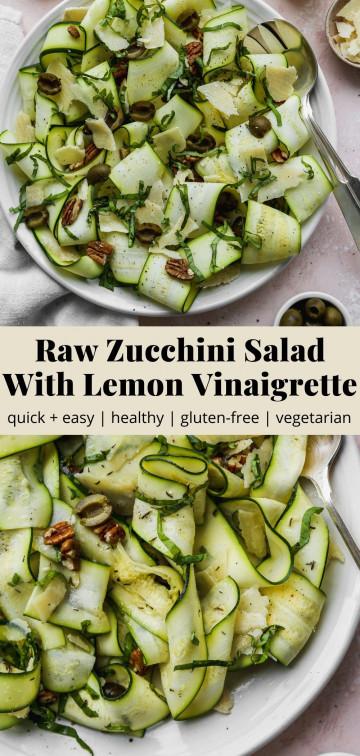 Pinterest graphic for a raw zucchini salad with lemon vinaigrette recipe.