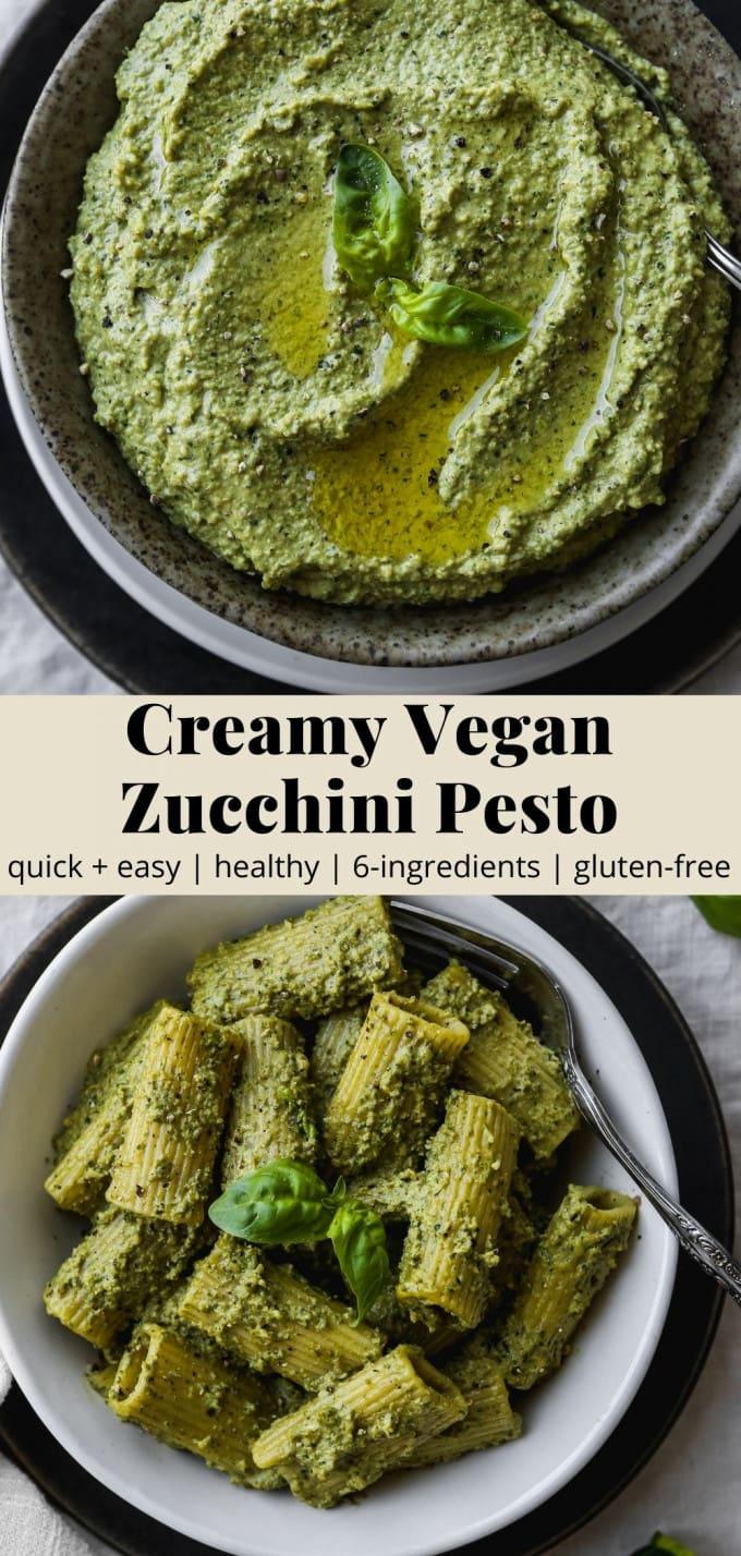 Pinterest graphic for a creamy vegan zucchini pesto recipe.