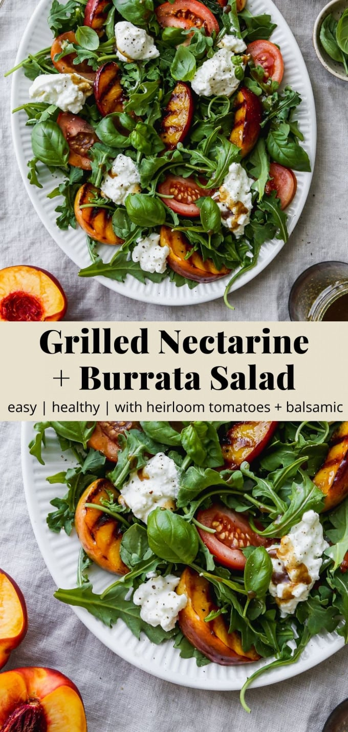 Pinterest graphic for a grilled nectarine and burrata salad recipe.