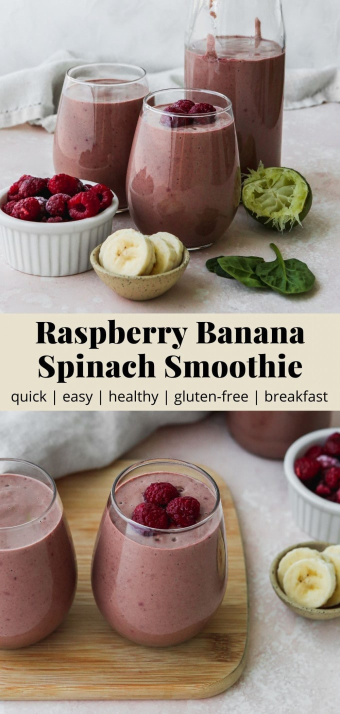 Pinterest graphic for a raspberry banana spinach smoothie recipe.