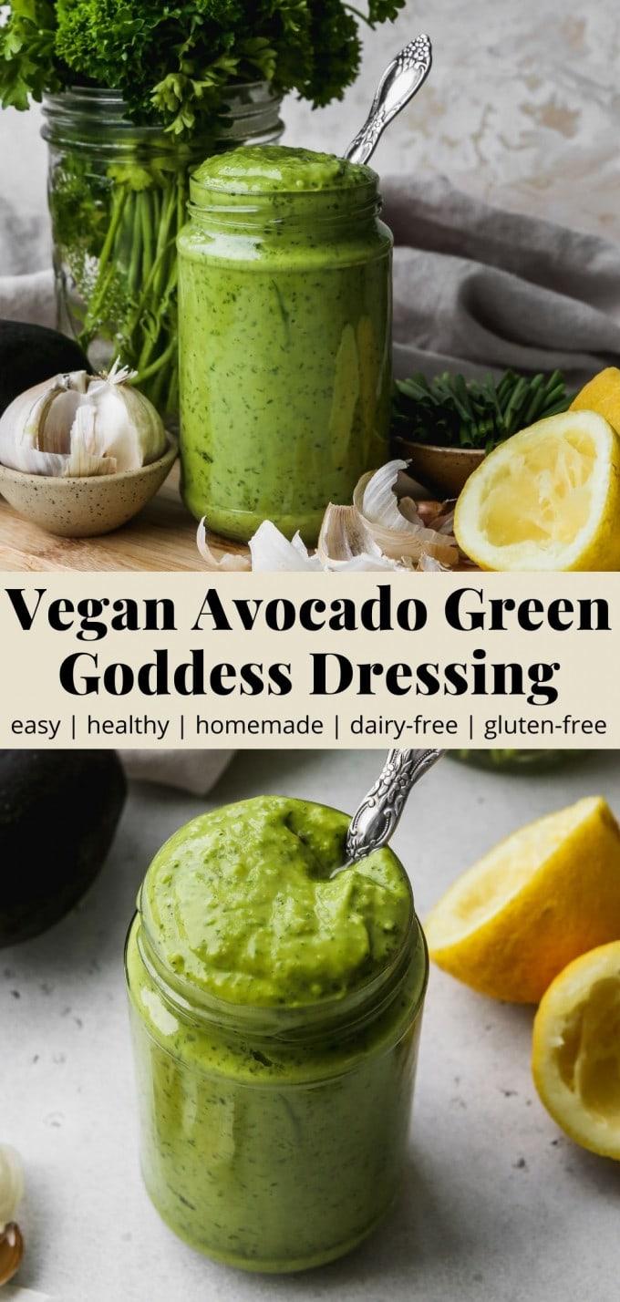 Pinterest graphic for a vegan avocado green goddess dressing recipe.