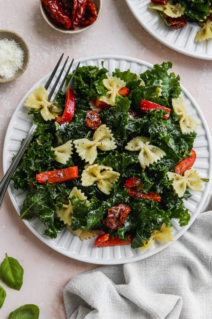 Overhead photo of a serving of kale pasta salad with sundried tomatoes and peppers on a white plate.
