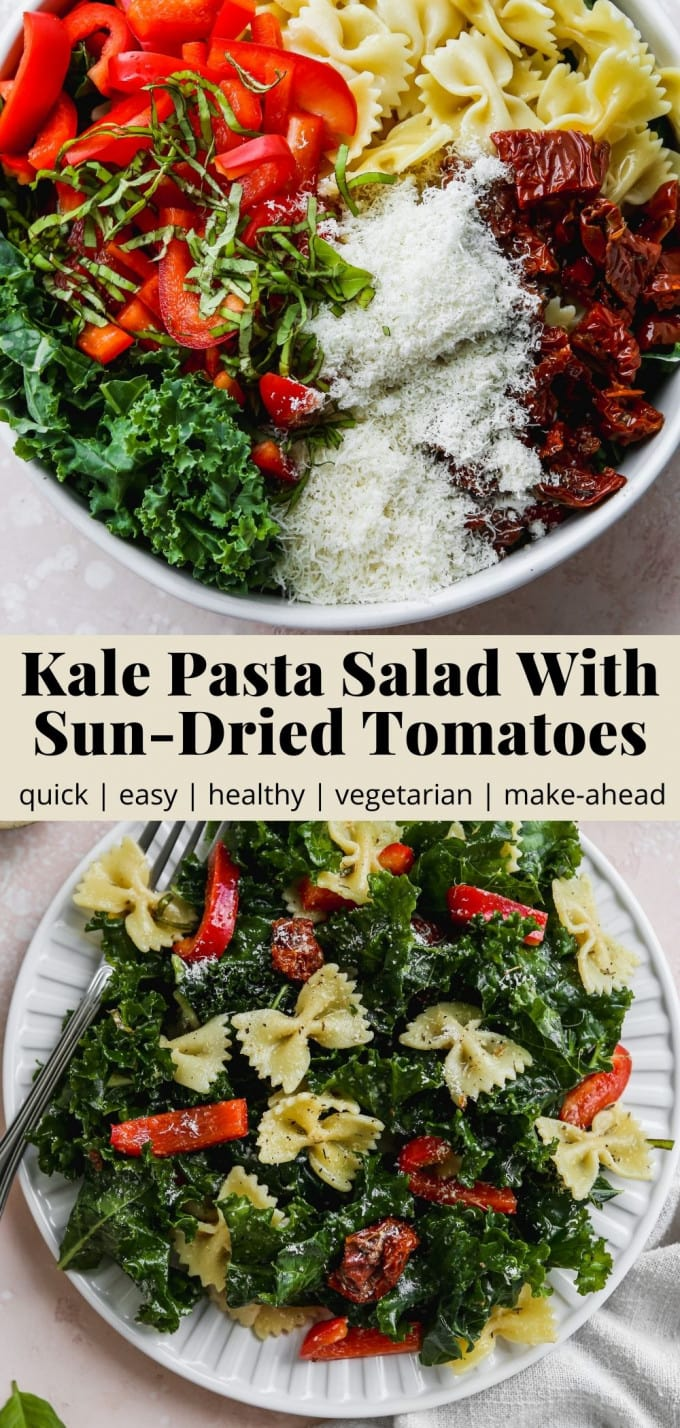 Pinterest graphic for a kale pasta salad with sun-dried tomatoes recipe.