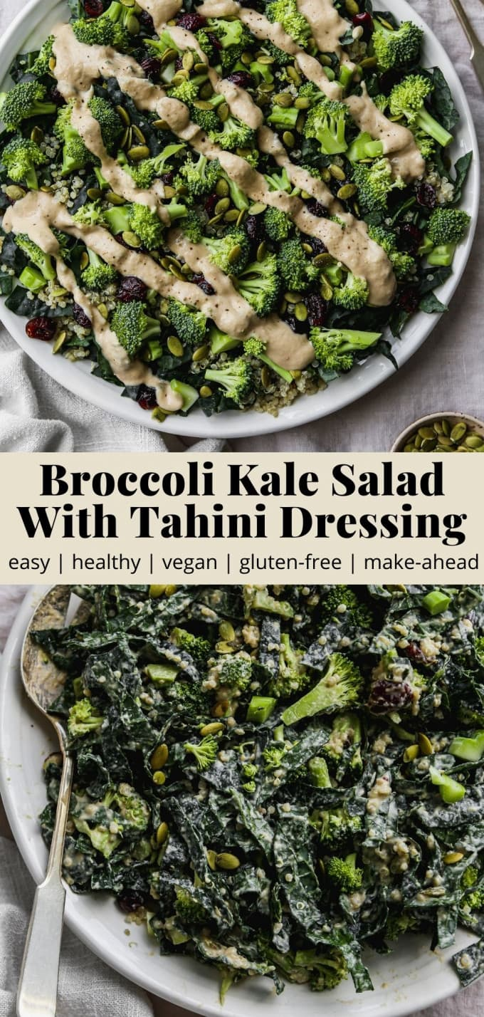 Pinterest graphic for a broccoli kale salad with tahini dressing recipe.