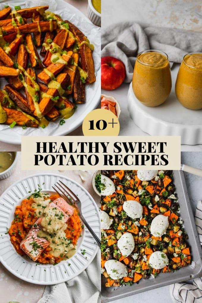 Roundup graphic for a collection of healthy sweet potato recipes.