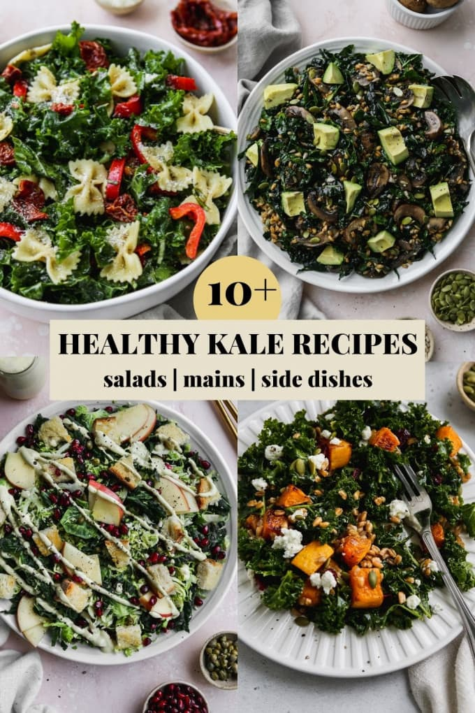 Roundup graphic for a blog post containing 10+ healthy kale recipe ideas.