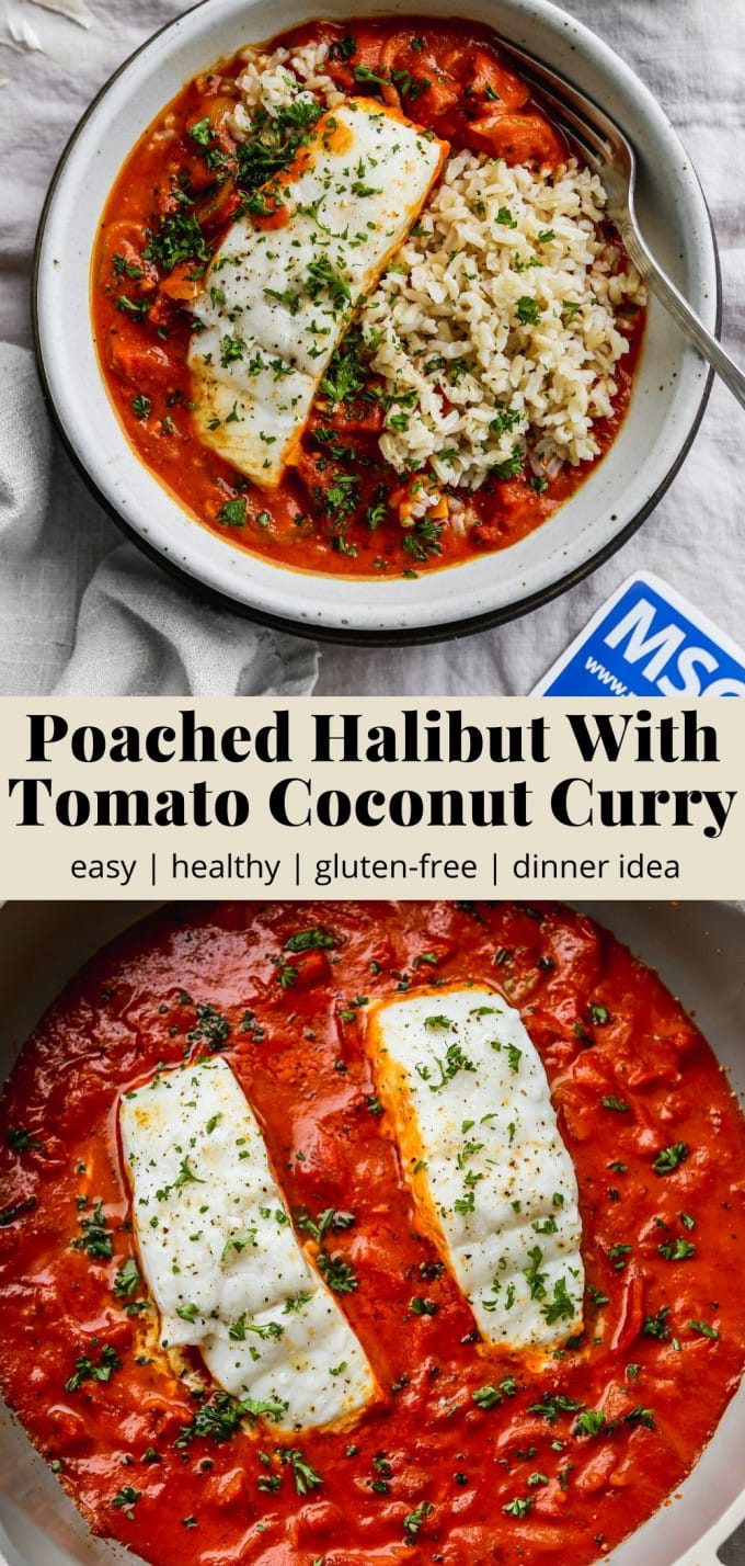 Pinterest graphic for a poached halibut with tomato coconut curry recipe.
