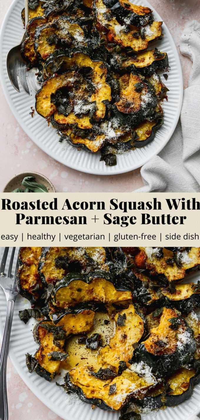Pinterest graphic of a roasted acorn squash with parmesan and sage butter recipe.