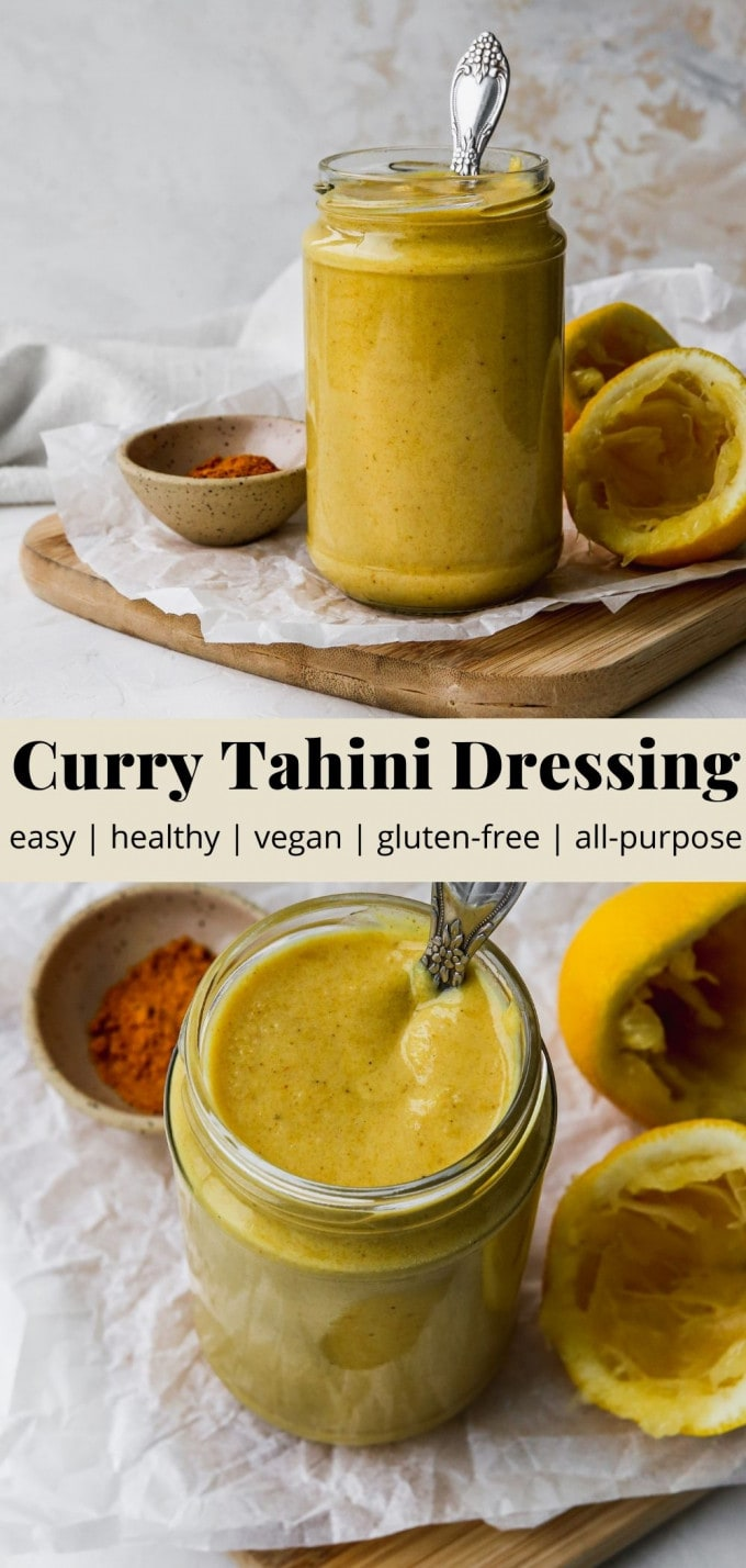 Pinterest graphic for a vegan curry tahini dressing recipe.