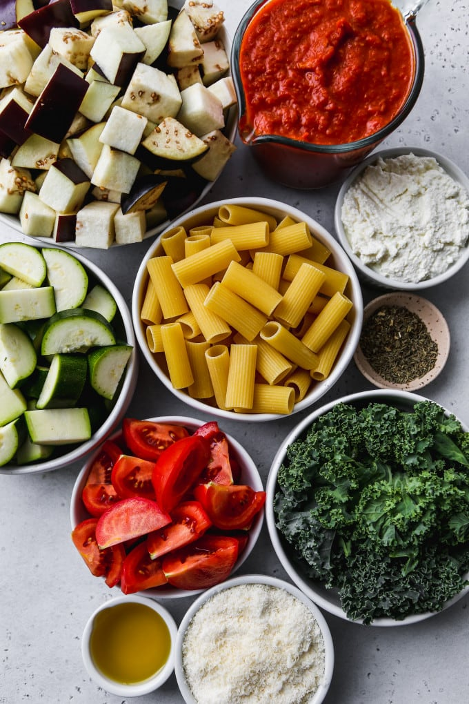 Overhead photo of bowls of various ingredients.