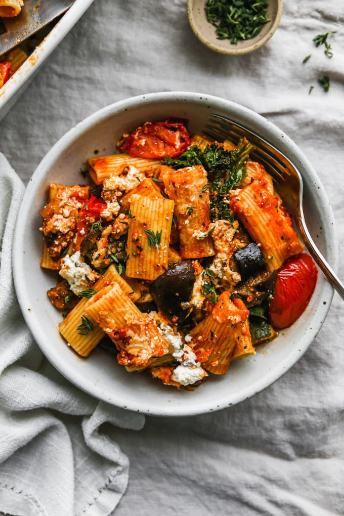 Overhead photo of a serving of eggplant baked pasta in a bowl.