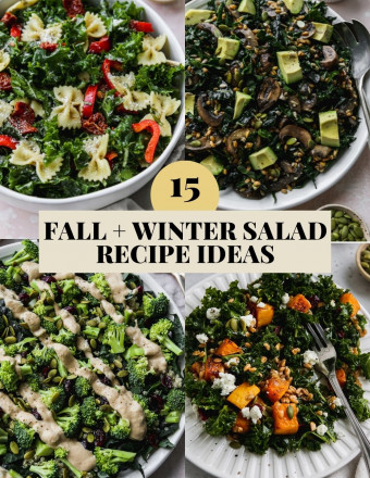 Graphic for a roundup of 15 fall and winter salad recipe ideas.