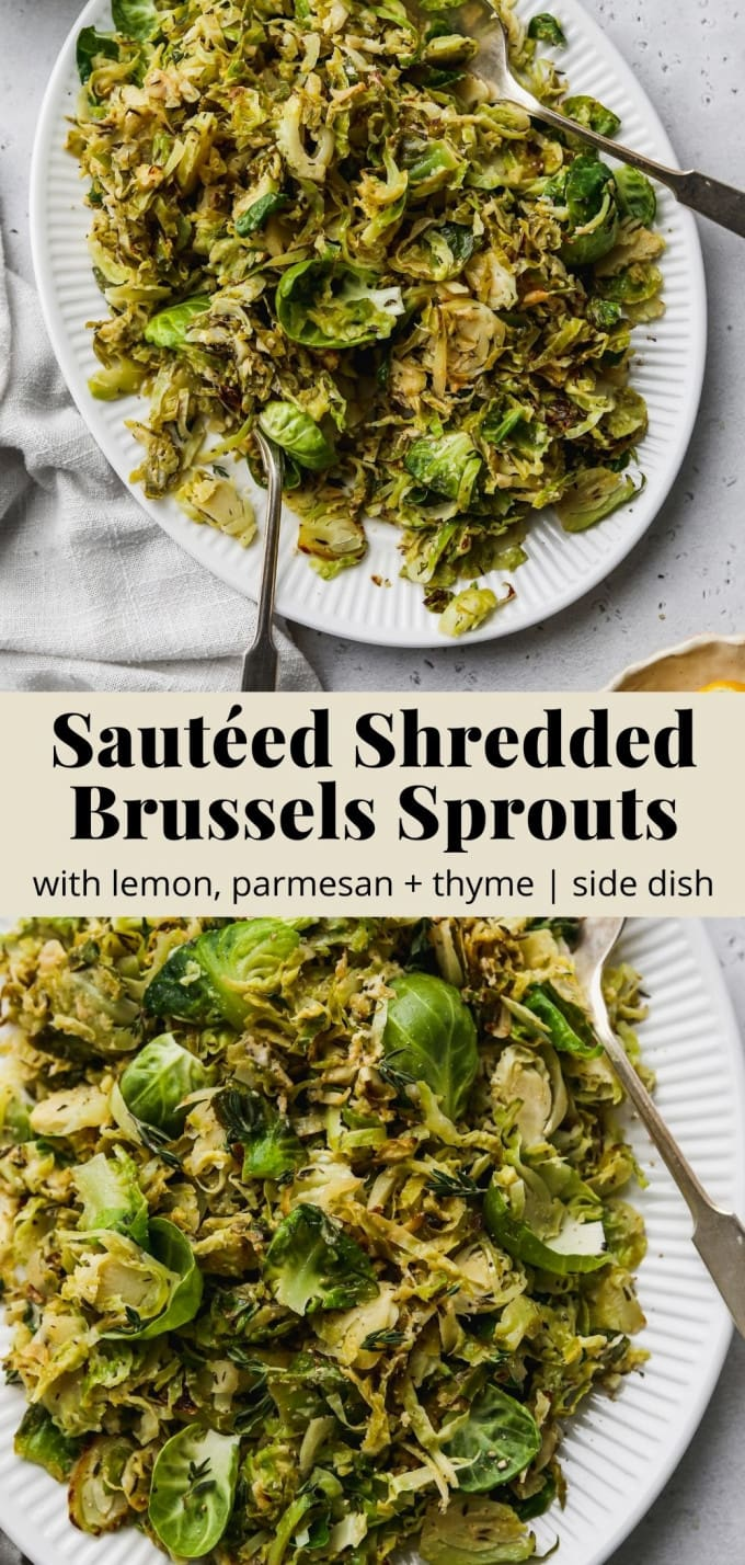 Pinterest graphic for a sautéed shredded brussels sprouts recipe with lemon, parmesan, and thyme.